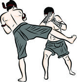 Hand drawn Thai martial arts and muay thai boran — ストックベクタ