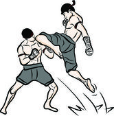 Hand getekend thaise martial arts en thai muay boran — Stockvector