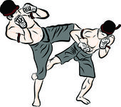 Hand drawn Thai martial arts and muay thai boran — Stock vektor