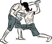 Tay dövüş sanatları ve tay muay boran el çekilmiş — Stok Vektör
