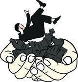 Hand tekenen concept mislukken zakenman — Stockvector
