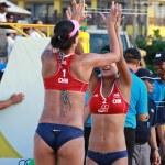 PHUKET, THAILAND NOVEMBER 3: Chen Xue and Xinyi Xia of China celebrate gold medal winners at the SWATCH FIVB World Tour 2013 on November 3, 2011 at Karon Beach in Phuket, Thailand — Stock Photo #34704979