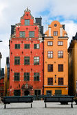 Two old houses in the old market square in Stockholm — Stock Photo