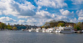 Boats are moored in Stockholm — Stock Photo