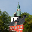 House and church in Porvoo — Stock Photo
