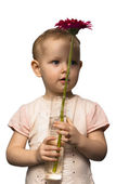 A child with a vase and a flower — Stock Photo