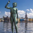 Statue of a man at the Town Hall in Stockholm — Stock fotografie