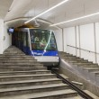 Funicular Floibanen arrived at its lowermost point — Stock Photo