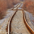 Detail of railway railroad tracks — Stock Photo