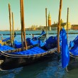 Gondolas by night — Stock Photo
