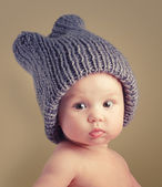 Baby girl with funny hat — Stock Photo