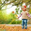 Cute child playing with autumn leaves — Stock Photo #31371883