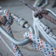 Climbing equipment - knot, rope, carabiner.  — Stock Photo