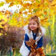Cute child playing with autumn leaves — Stock Photo