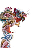 Dragon statue on white background — Stock Photo