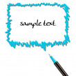 Comics bubble and pen isolated on white background — Stock Photo