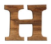 Alfabetet i trä, isolerad på vit bakgrund. — Stockfoto