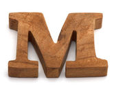 Alphabet made from wood on white — Zdjęcie stockowe