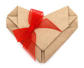 Origami recycle paper heart with bow tie — Stock Photo