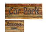 Wooden parking sign on white background — Стоковое фото