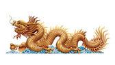 Golden Dragon on white background — Stock Photo