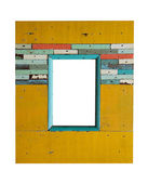 Old colorful wooden frame on white — Stock Photo