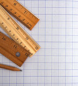 Millimeter paper, ruler and pencil — Stock Photo