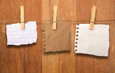 Close up of a notes and a clothes pegs on wood wall — Stock Photo