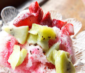 Delicious cold dessert with fruits — Photo