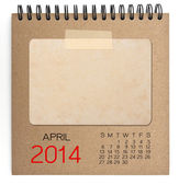 2014 Calendar brown notebook with old blank photo — Stock Photo