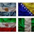 Wave flags for soccer championship 2014. Groups F — Stock Photo