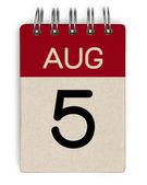 5 aug-Kalender — Stockfoto