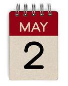 2 Mai Kalender — Stockfoto