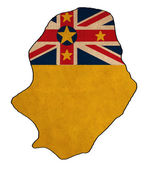 Niue map on Niue flag drawing ,grunge and retro flag series — Stock Photo