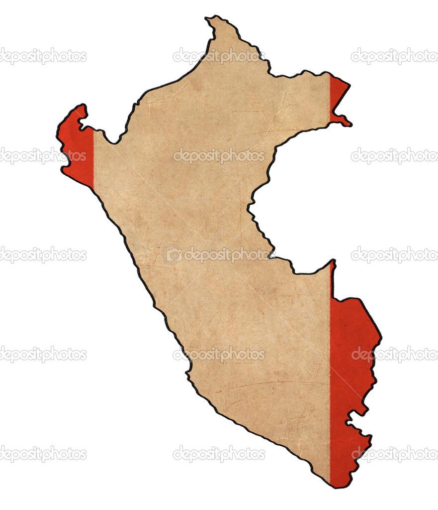 秘鲁地图上秘鲁国旗绘图, 摇滚, 复古国旗系列