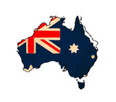 Australia map on Australia flag drawing ,grunge and retro flag s — Stock Photo