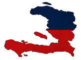 Haiti map on Haiti flag drawing ,grunge and retro flag series — Stock Photo