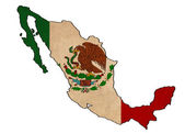 Mexico map on Mexico flag drawing ,grunge and retro flag series — Stock Photo