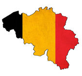Belgium map on belgium flag drawing ,grunge and retro flag serie — Stock Photo