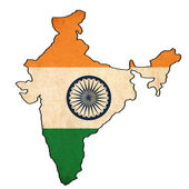 India map on India flag drawing ,grunge and retro flag series — Stock Photo