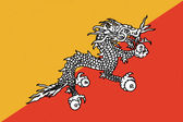 Bhutan flag drawing by pastel on charcoal paper — Stock Photo