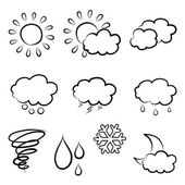 Doodles weather icon set — Stock Vector