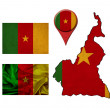 Grunge Cameroon flag, map and map pointers  — Stock Photo #50118243