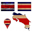Grunge Costa Rica flag, map and map pointers  — Stock Photo #50118613