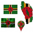 Grunge Dominica flag, map and map pointers — Stock Photo #50118887