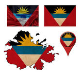 Grunge Antigua and Barbuda flag, map and map pointers  — Stock Photo