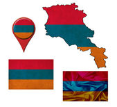 Grunge armenia flag, map and map pointers  — Stok fotoğraf
