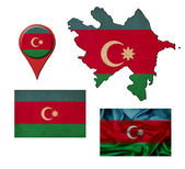 Grunge Azerbaijan flag, map and map pointers  — Foto Stock
