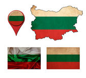 Grunge Bulgaria flag, map and map pointers  — Foto Stock