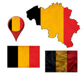 Grunge belgium flag, map and map pointers  — Foto Stock